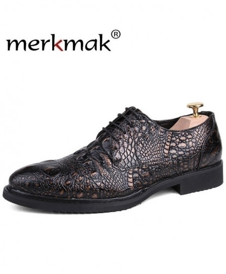 Merkmak Black Crocodile Pattern Formal Shoes