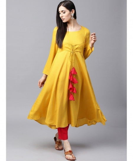 Golden Cotty Frock Style Ladies Kurti ALK-192