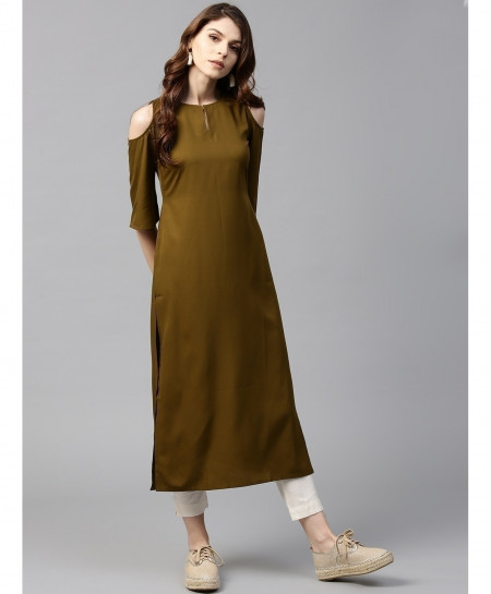 Olive Round Neck Stylish Sleeves Ladies Kurti ALK-179