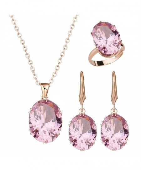 Pink Luxury Cubic Zircon Jewelry Sets