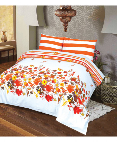 White Orange Floral Cotton Satin Bedsheet PBS-DS-136