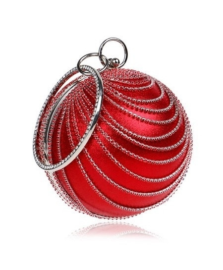 SEKUSA Red Tassel Rhinestones Stylish Ladies Clutch