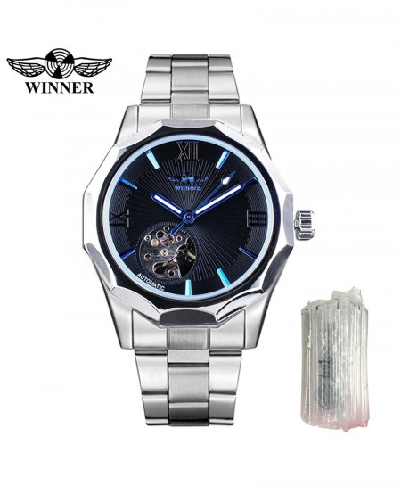Winner Silver Blue Geometry Design Automatic Mechanical Watch