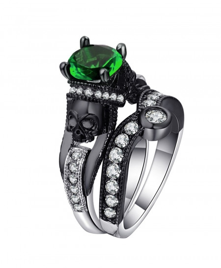 Ufooro Crystal Evil Skeleton Punk Style Ring