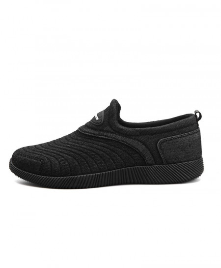 ZENVBNV Black Canvas Denim Lace-up Flat Breathable Loafers