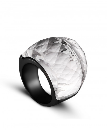 ZMZY Clear Crystal Stone Stainless Steel Ring