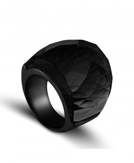 ZMZY Black Crystal Stone Stainless Steel Ring