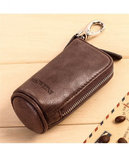 Coffee Cowhide Leather Fashionable Zipper Key Wallet