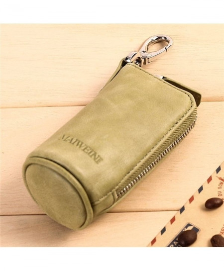 Green Cowhide Leather Fashionable Zipper Key Wallet