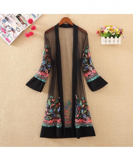 Black Floral Embroidered Net Cardigan Long Gown Shirt