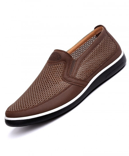 QIYHONG Choco Brown Mesh Creepers Loafers
