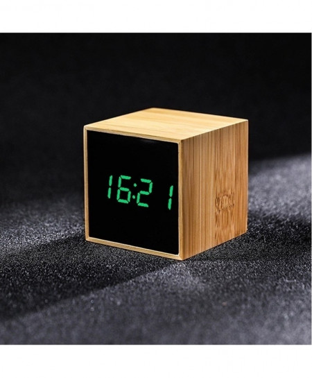 Bamboo Green LED Alarm Table Clock