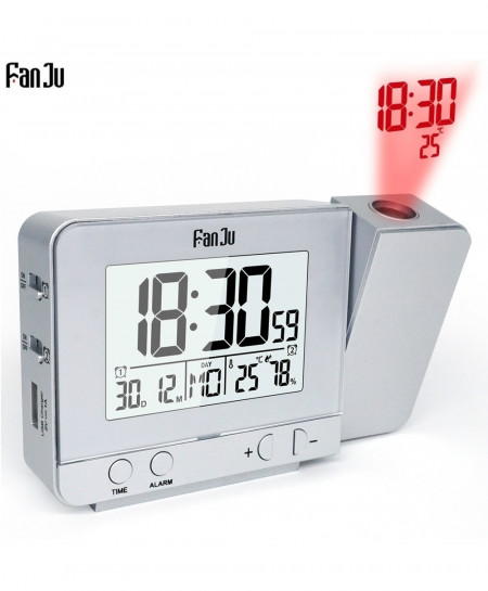 Fanju Projection Alarm Clock Digital Rotatable Projector Led Clock