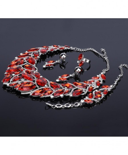 Fashionable Red Silver Jewelry Set For Women