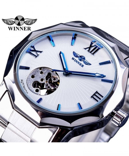 Winner White Blue Ocean Geometric Design Transparent Skeleton Watch