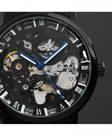 Black Skeleton Stainless Steel Antique Steampunk Automatic Watch