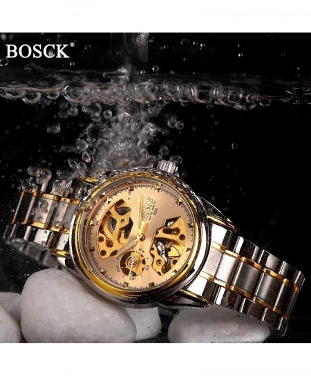 BOSCK Skeleton Gold Automatic Waterproof Self-Winding Stainless Steel Watch