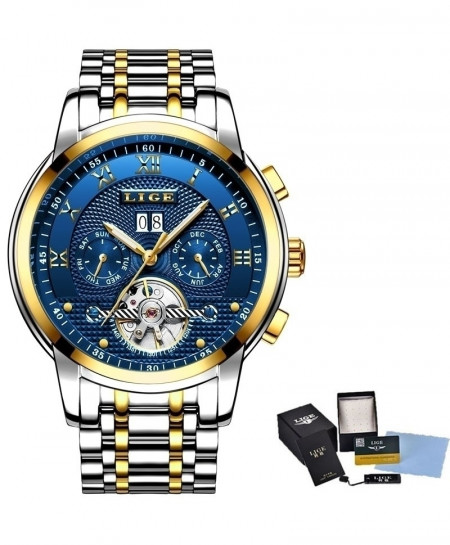 LIGE Blue Relogio Masculino Automatic Mechanical Steel Business Waterproof Watch