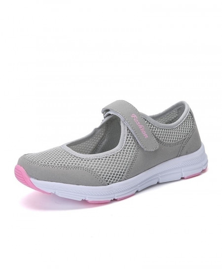 Bjakin Gray Pink Mesh Summer Running Breathable Mesh Sport Shoes