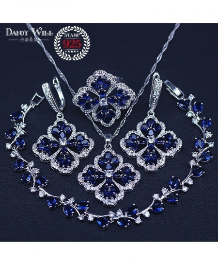 Dark Blue Cubic Zirconia Sterling Silver 925 Jewelry Set