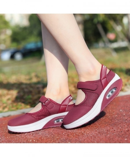 Wine Red Breathable Comfort Flats Loafers Cushioning Nurse Shoes
