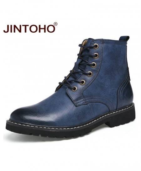 JINTOHO Blue Genuine Leather Pointed Toe Mid-Calf Boots
