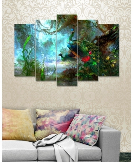 Digital Printed Peacock Canvas Wall Frame BNS-266