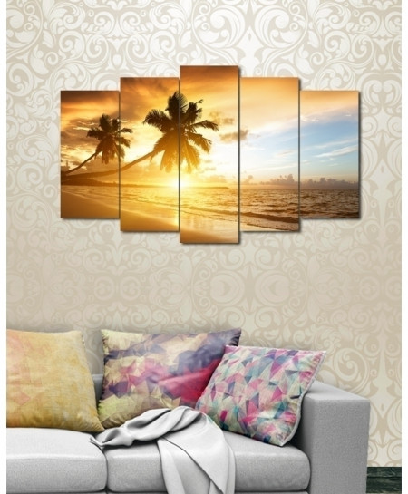 Digital Printed Beach View Canvas Wall Frame BNS-232