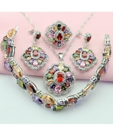 Mult-Color Stone Silver Bridal Jewelry Set