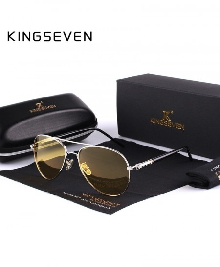 KINGSEVEN Silver Yellow Polarized Night Driving Sunglasses