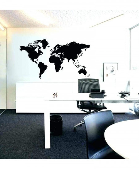 Modern Black Map Design Wall Decal BNS-172