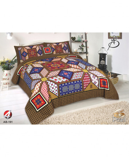 MultiColor Floral Pearl Cotton Bedsheet PBS-AB-191