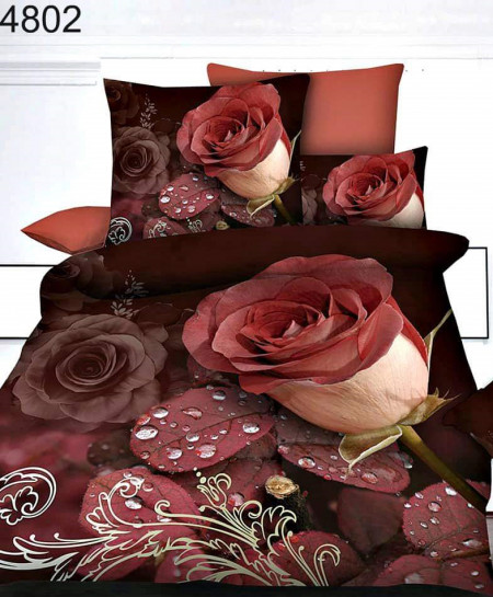 Red Rose Stylish Digital Printed Bedsheet SN-4802