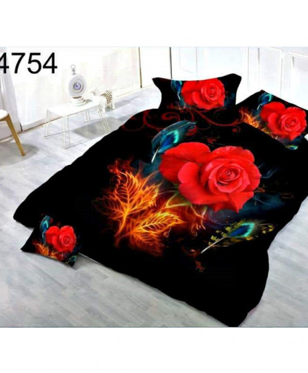 Black Red Roses Digital Printed Bedsheet SN-4754
