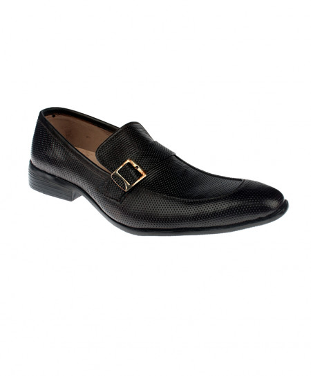 Black Leather Side Buckle Loafer Shoes LC-345