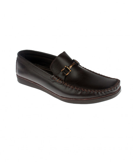 Choco Brown Leather Loafer Shoes LC-346