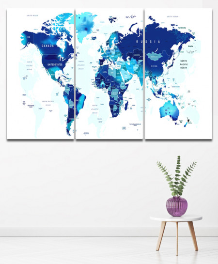 World map Design Canvas 3 pcs Wall Frame SA-62