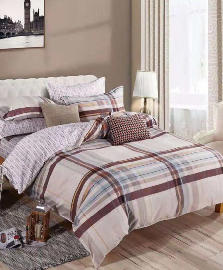 Varicolored Lining Printed Cotton Bedsheet RB-7096
