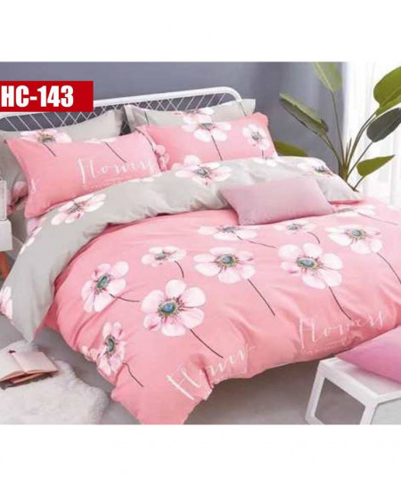 White Floral Printed Cotton Bedsheet RB-7102