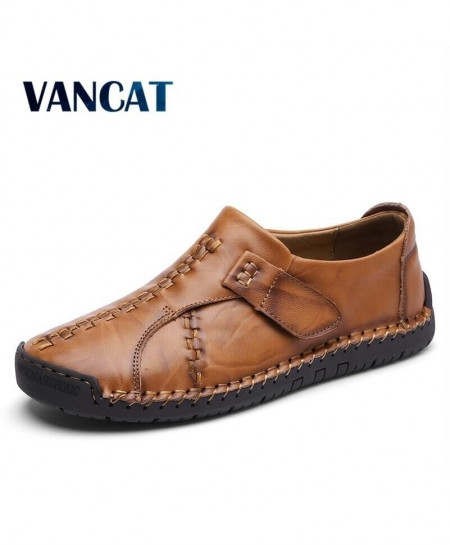VANCAT Brown Stitched Design Casual Shoes