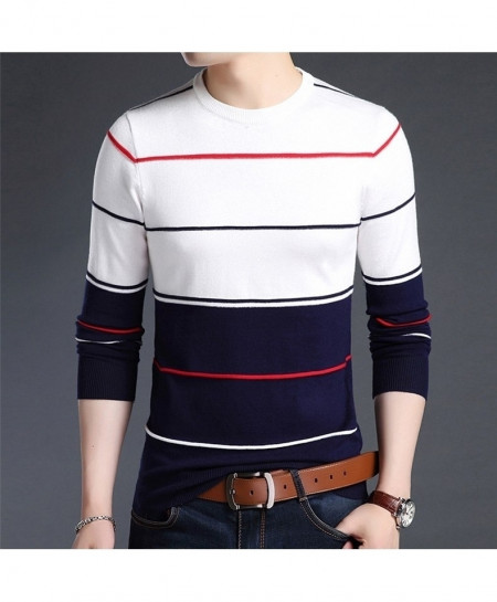 White Dual Tone Lining O-Neck Striped Pullover Sweater