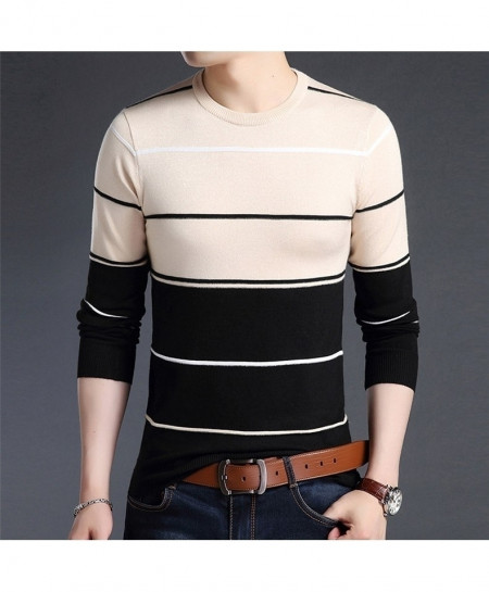Khaki Dual Tone Lining O-Neck Striped Pullover Sweater