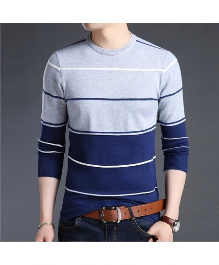 Light Gray Lining O-Neck Striped Pullover Sweater