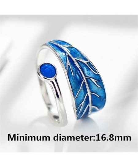 Flyleaf 925 Sterling Silver Blue Drop Glaze Leaves Ring