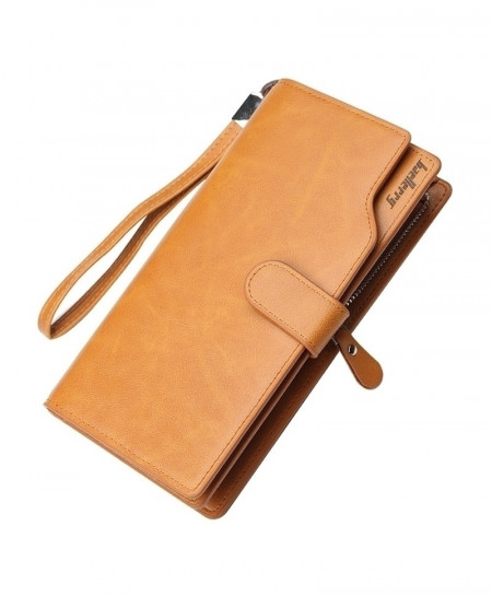 Baellerry Yellow Brown Large Capacity Wristband Men Wallet