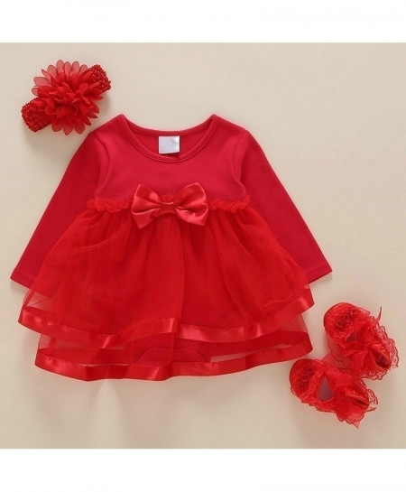 Foohinck Rose Red New Born Baby Girls Infant Dress Set