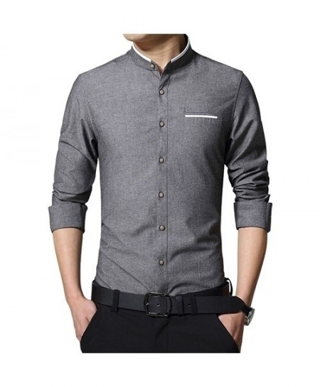LANGBEEYAR Dark Gray Long Sleeve Mandarin Collar Casual Shirt