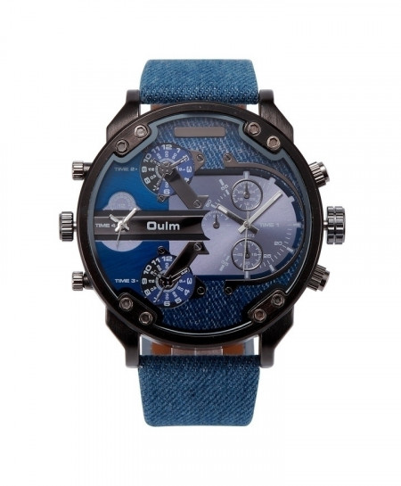 OULM Blue Canvas Strap Quartz Watch