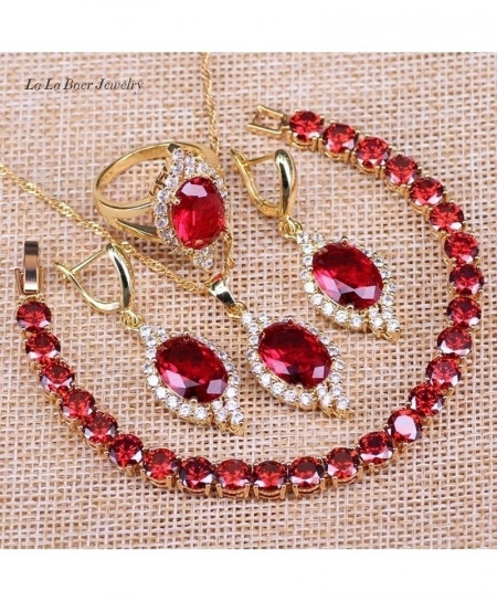 Dandy Will Red Crystal Pendant Jewerly Set