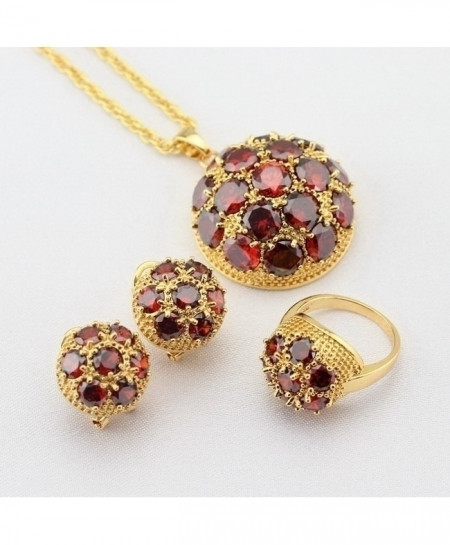 Red Small Beads Garnet Pendant Jewelry Sets